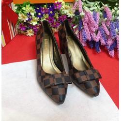 Giày cao gót sọc công sở đế 5cm