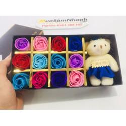 Hoa Hồng Sáp Thơm 12 Bông Kèm Gấu Đơn Sắc - Món dễ thương Cho Bạn Gái