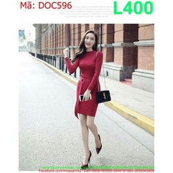 Đầm ôm body dự tiệc dài tay kèm thắt lưng màu đỏ sang trọng DOC596