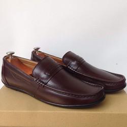 Giày Lười Da Bò Thật màu nâu khóa ngang