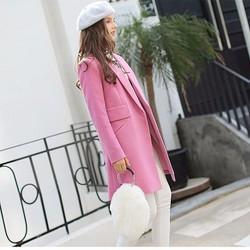 Áo khoác dạ măng tô nữ cổ vest tay dài - Tím