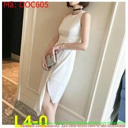 Đầm ôm dự tiệc màu trắng sát nách xẻ tà chéo thời trang DOC605