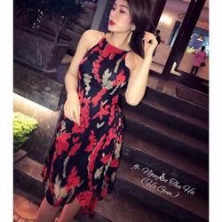 Đầm maxi hoa cổ yếm