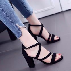 Giày cao gót hở mũi quai chéo phong cách