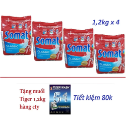 4 bột SOMAT 1,2kg NK Đức Tặng 1,2kg muối Tiger cho máy rửa chén bát
