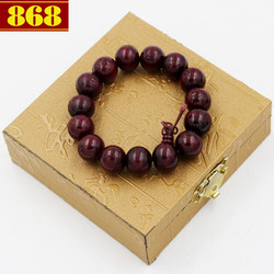 Vòng tay gỗ đỏ khắc chữ Phật 14 ly kèm hộp gỗ