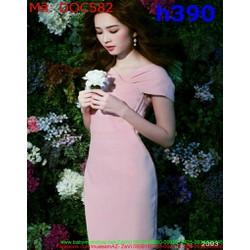 Đầm ôm dự tiệc đắp chéo tay con màu hồng dễ thương DOC582