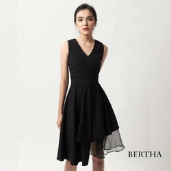 Đầm xòe phối voan BERTHA - Hàng thiết kế