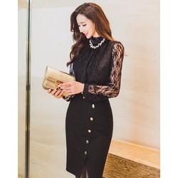 Chân Váy Xẻ Tà Phối Nút Fashion