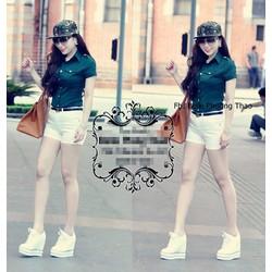 Sét nguyên bộ áo sơ mi tay ngắn quần short trắngVJ65 - V220