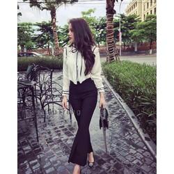 SET áo trắng tay dài phối bèo viền đen quần dài đen
