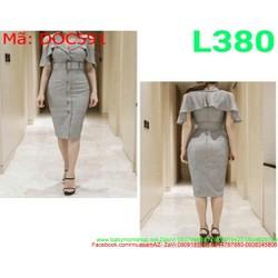 Đầm ôm công sở khoét vai dàng cổ vest sang trọng DOC591