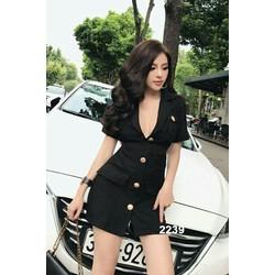 Đầm đen giả vest sang trọng 2239