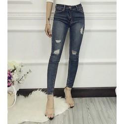 Quần jeans dài wash rách