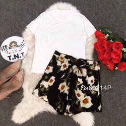 Set áo thun tn quần short hoa