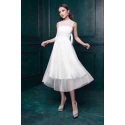 Đầm trắng dài dự tiệc sang trọng