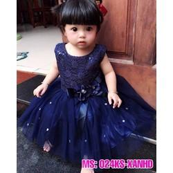Đầm kim sa xanh đen