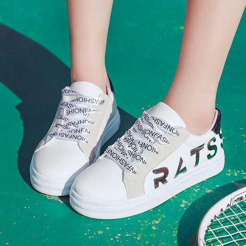 Giày sneaker nữ in chữ dây cột cá tính - xs0468