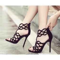 giày sandals cao gót đen tôn dáng
