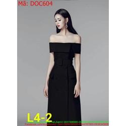 Đầm ôm dự tiệc bẹt vai ngang màu đen sang trọng và quý phái DOC604