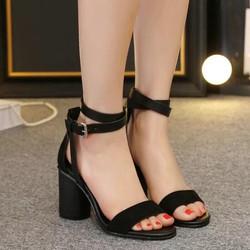 Gìay sandal cao gót đế vuông vân gỗ