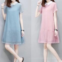 Đầm suông Hàn Quốc váy chữ A cổ sơ mi