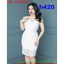 Đầm ôm dự tiệc 2 dây màu trắng chất liệu ren cao cấp DOC583