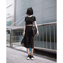 Set áo croptop + quần váy voan