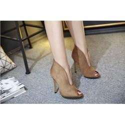 giày cao gót tôn dáng màu nâu