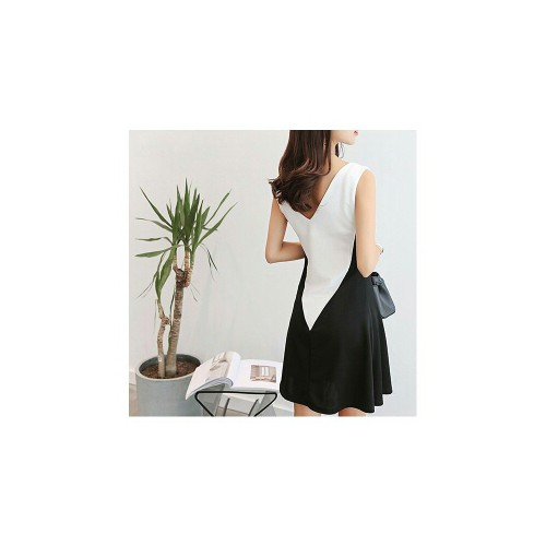 Đầm suông sát nách phối trắng đen - CS6807