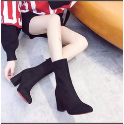 Giày boots mũi nhọn đế vuông cổ lửng
