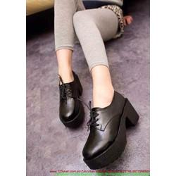 Giày da nữ thu đông oxford đế cao tự tin nổi bật