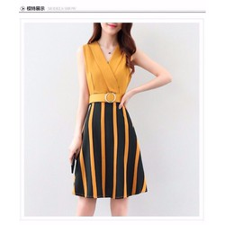🌸HÀNG NHẬP - Đầm xòe liền chân váy sọc kèm nịt xinh xắn - KD1498