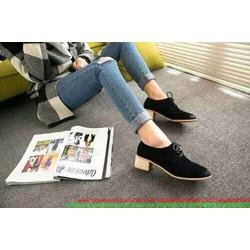 Giày oxford da nhung phong cách thu đông nổi bật