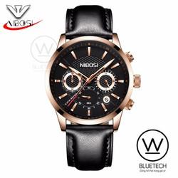 Đồng hồ NIBOSI 929 chạy full 6 kim dây Da mặt Đen viền Vàng kim Vàng