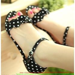 Giày sandal nữ chấm bi quai nơ đáng iu SD11