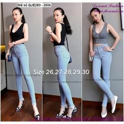 Quần jean nữ lưng cao 1 nút đơn giản form chuẩn đẹp