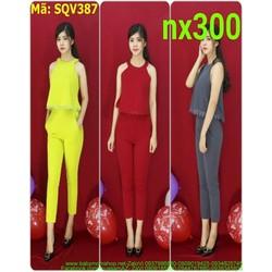 Sét áo kiểu cổ yếm viền ren và quần baggy thời trang SQV387