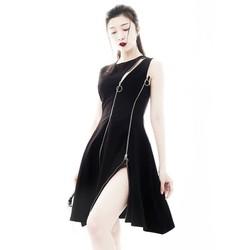 Đầm đen xòe đẹpthiết kế phối dây kéo cá tính