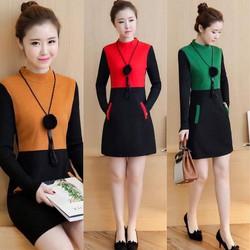Đầm dạ tay len phối màu xinh xắn - hàng nhập Quảng Châu cao cấp