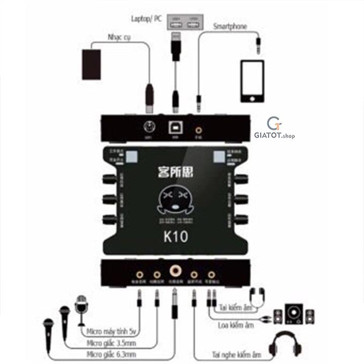 Bộ míc thu âm BM999 Kèm sound K10,dây livestream,Kẹp để bàn,màng lọc 13