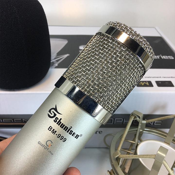 Bộ míc thu âm BM999 Kèm sound K10,dây livestream,Kẹp để bàn,màng lọc 5