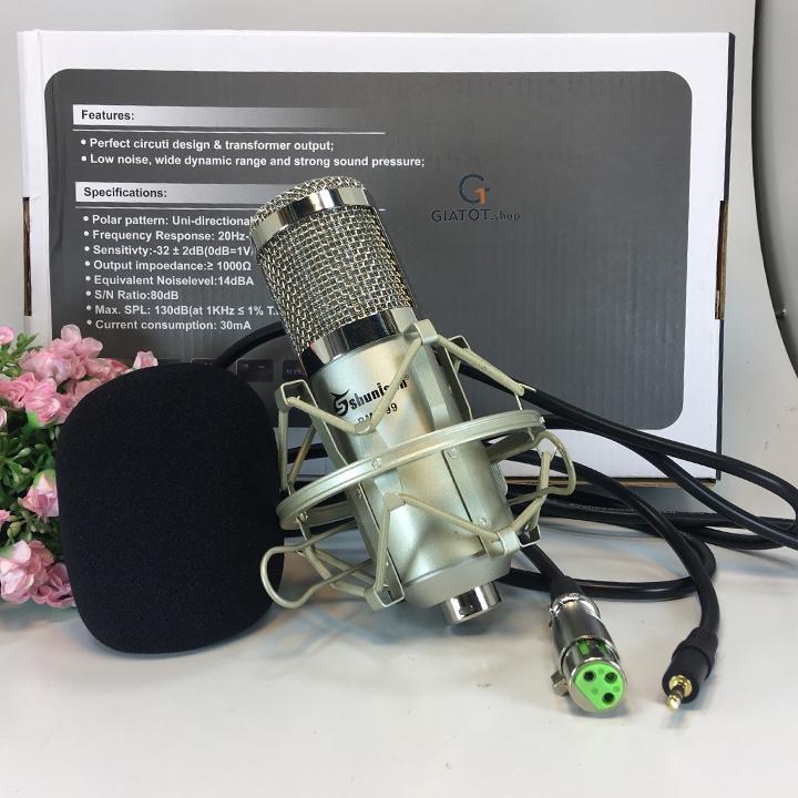 Bộ míc thu âm BM999 Kèm sound K10,dây livestream,Kẹp để bàn,màng lọc 1