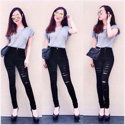 Quần jean đen rách lưng cao form đẹp bụi bặm