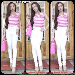 Quần jean nữ lưng cao 1 nút màu trắng sành điệu