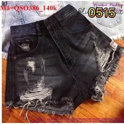Quần short jean nữ rách bụi bặm sành điệu QSO386