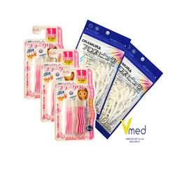 Combo 2 Gói tăm chỉ nha khoa Okamura 50P và 3 Gói bàn chải kẽ răng