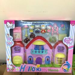 nhà búp bê, lâu đài búp bê gia đình Kitty và đồ dùng, pin. 8100
