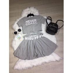 Set áo croptop- quần giã váy
