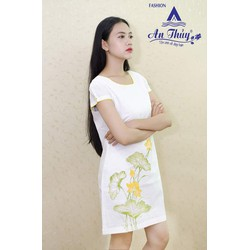 Đầm linen vẽ tay họa tiết hoa sen 520